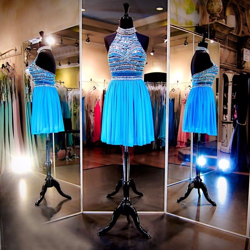 Sparkly Sky Blue High Neck Sleeveless Backless Short Chiffon Homecoming Dress With Beaded Bodice 2016