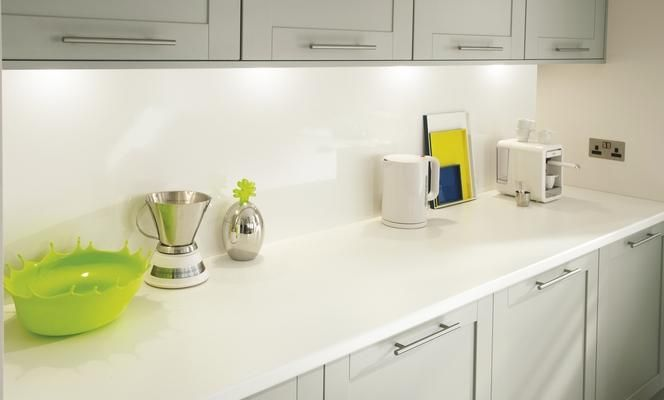 White 38mm Worktop And Gloss White Backboard Kitchens