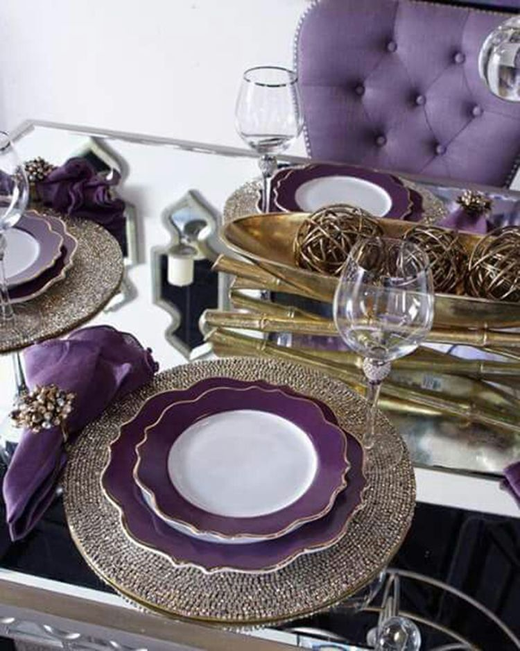 Dining Room Sets Christmas Table Decorations Centerpiece Purple Table Settin Purple Table Settings Purple Dining Room Christmas Table Decorations Centerpiece