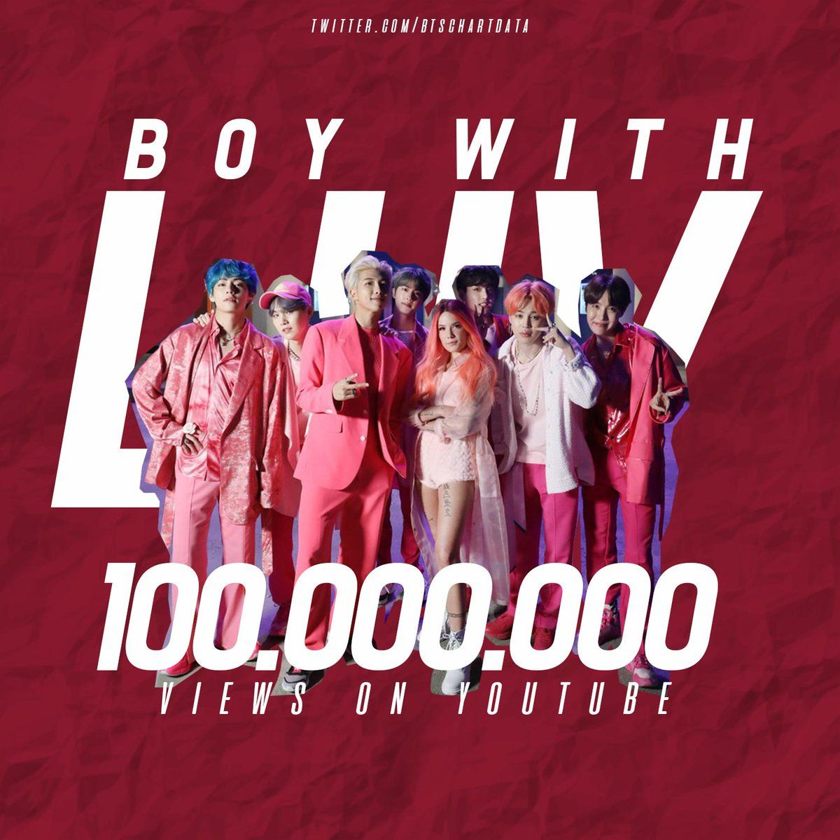 Boy With Luv' M/V by BTS ft  Halsey surpassed 100M views on