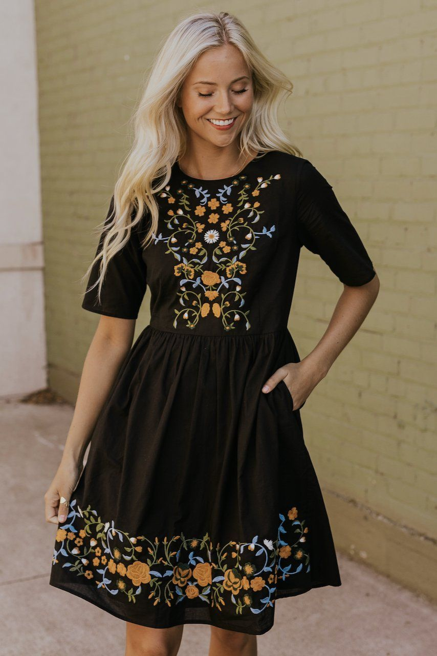 Moira Embroidered Dress Black L Embroidered Dress Floral Embroidered Dress Modest Dresses [ 1280 x 854 Pixel ]