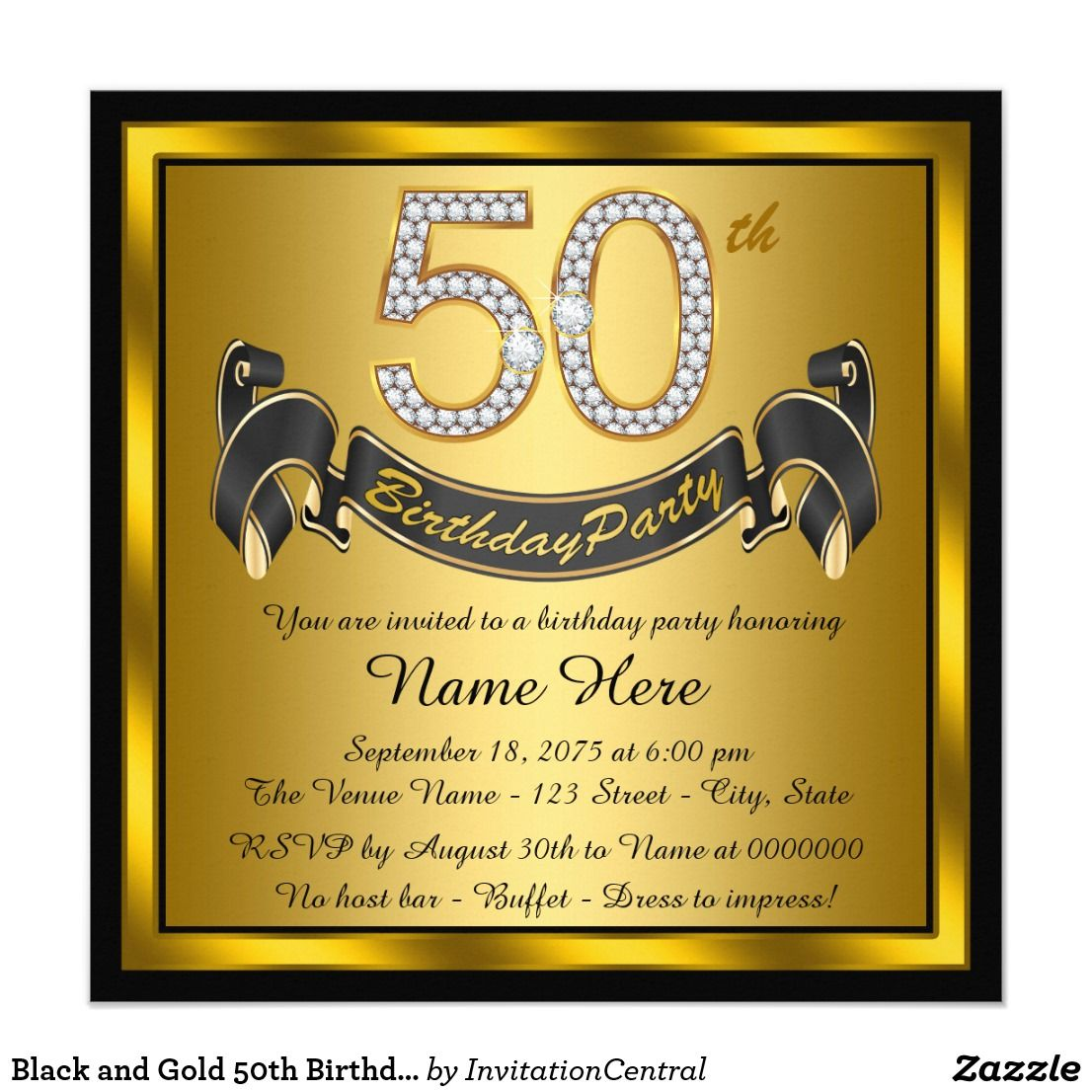 Black and Gold 50th Birthday Party Invitation   Zazzle.com   Personalized  birthday invitations, Birthday party invitation templates, 75th birthday  parties
