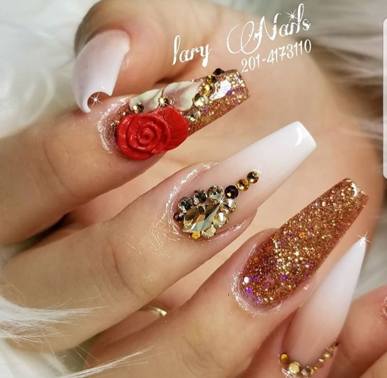 Red White Pink Nails | Coffin Acrylic Nails | Flower Glitter Diamond ...
