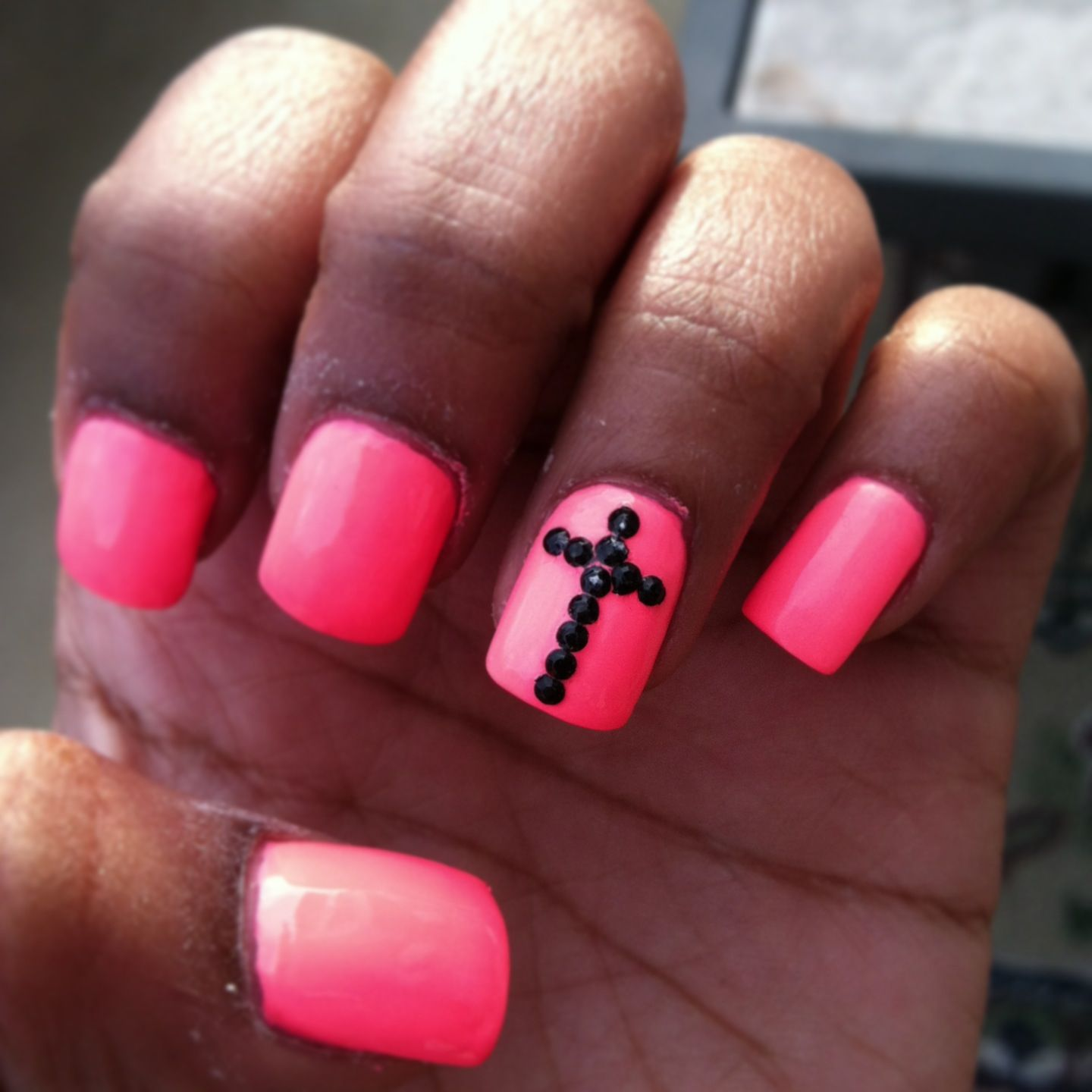 New hot pink and black rhinestoned cross nails | Nail designs ...