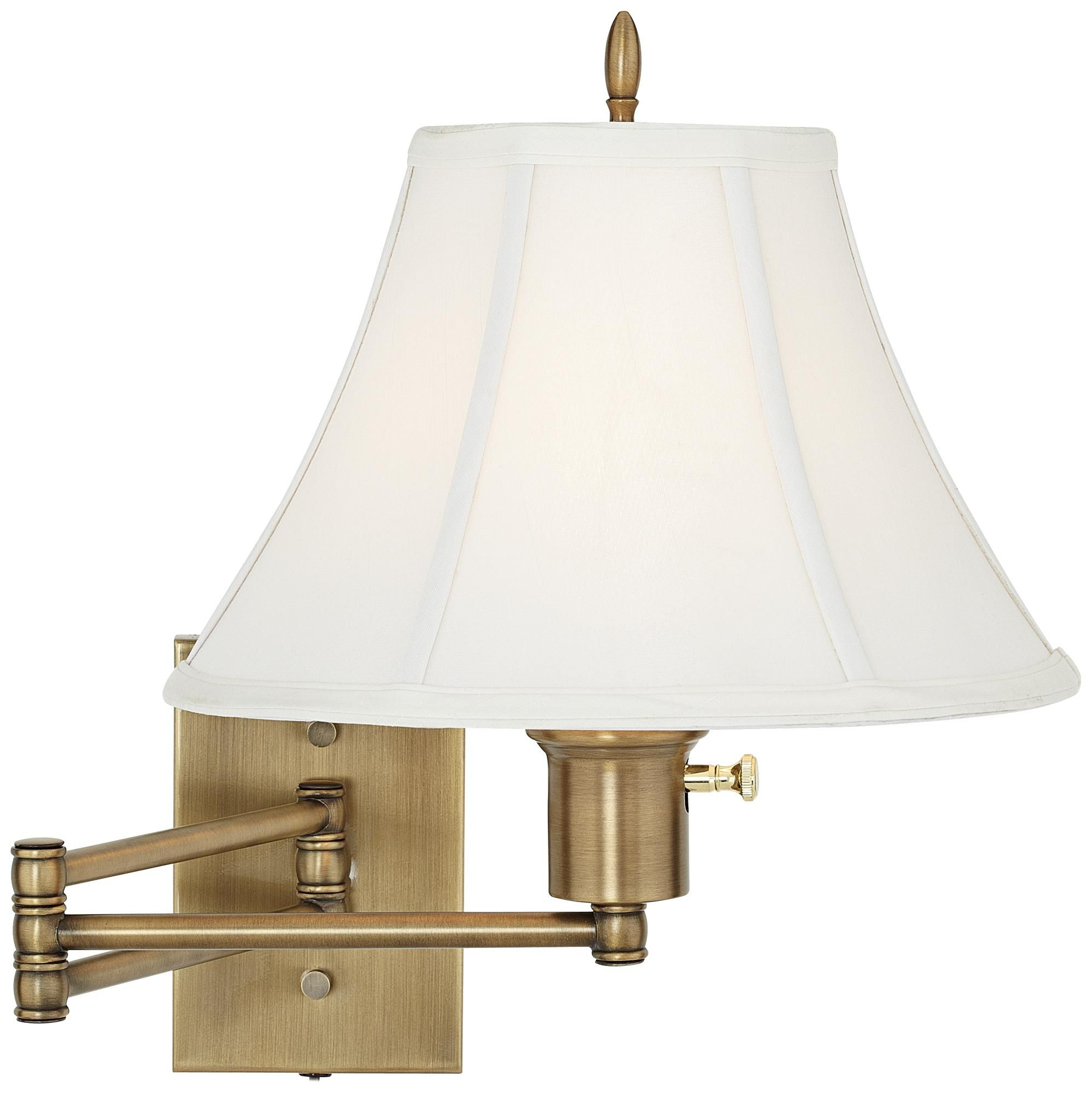 Double arm antique brass swing arm wall lamp on sale