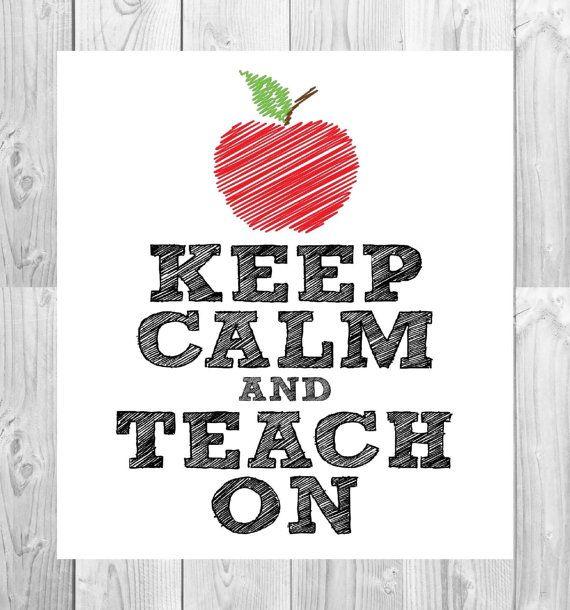keep calm  u0026 teach on chalkboard printable     white by