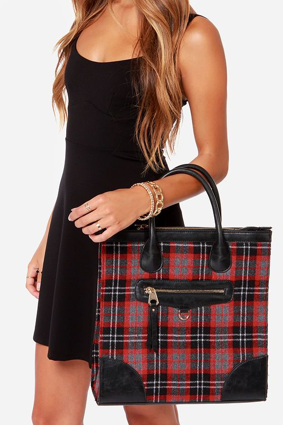 Highlands Black And Red Plaid Tote At Lulus