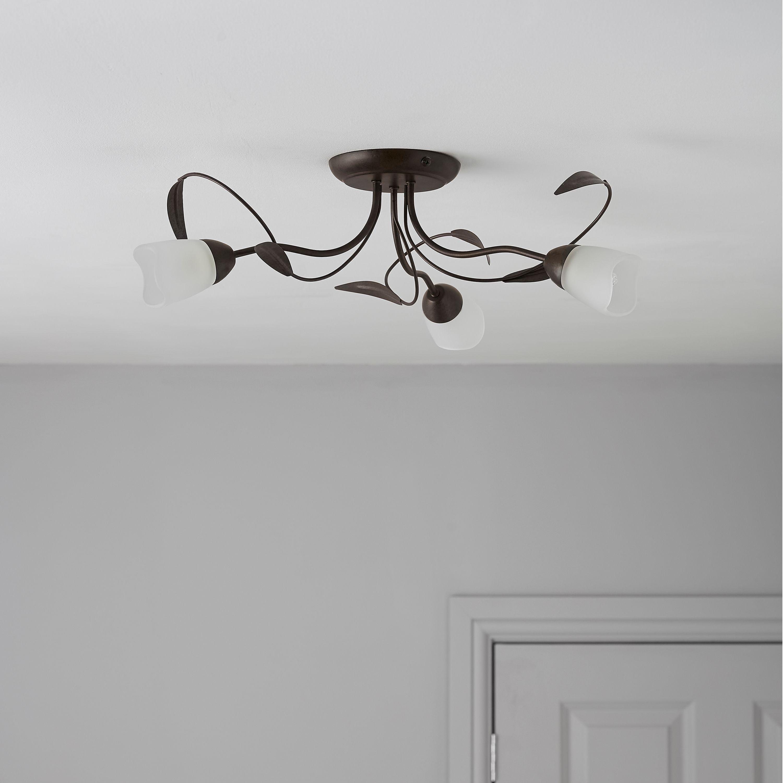 Cloe Brown Bronze Effect 3 Lamp Ceiling Light