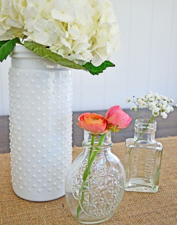 White Hobnail Vase 10 Jar And Tabletop