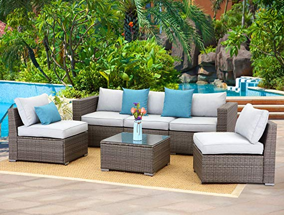 Amazon Com Wisteria Lane 6 Piece Outdoor Furniture Set Modular
