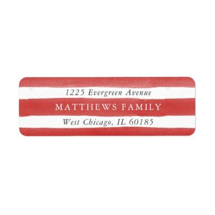 Red Watercolor Stripe Return Address Labels holiday cards