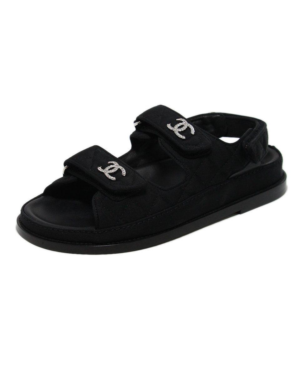 Chanel Black Silk Rhinestone Sandals Sz