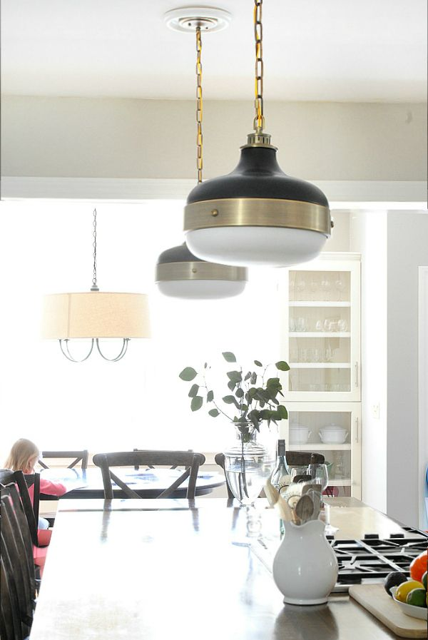 New Kitchen Pendants Blogger Home Projects We Love Pinterest - Gold kitchen pendant lights