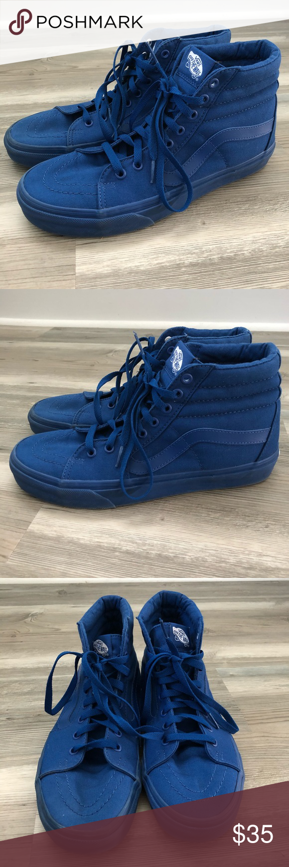 0bb96e4e99 Vans solid blue high top shoes