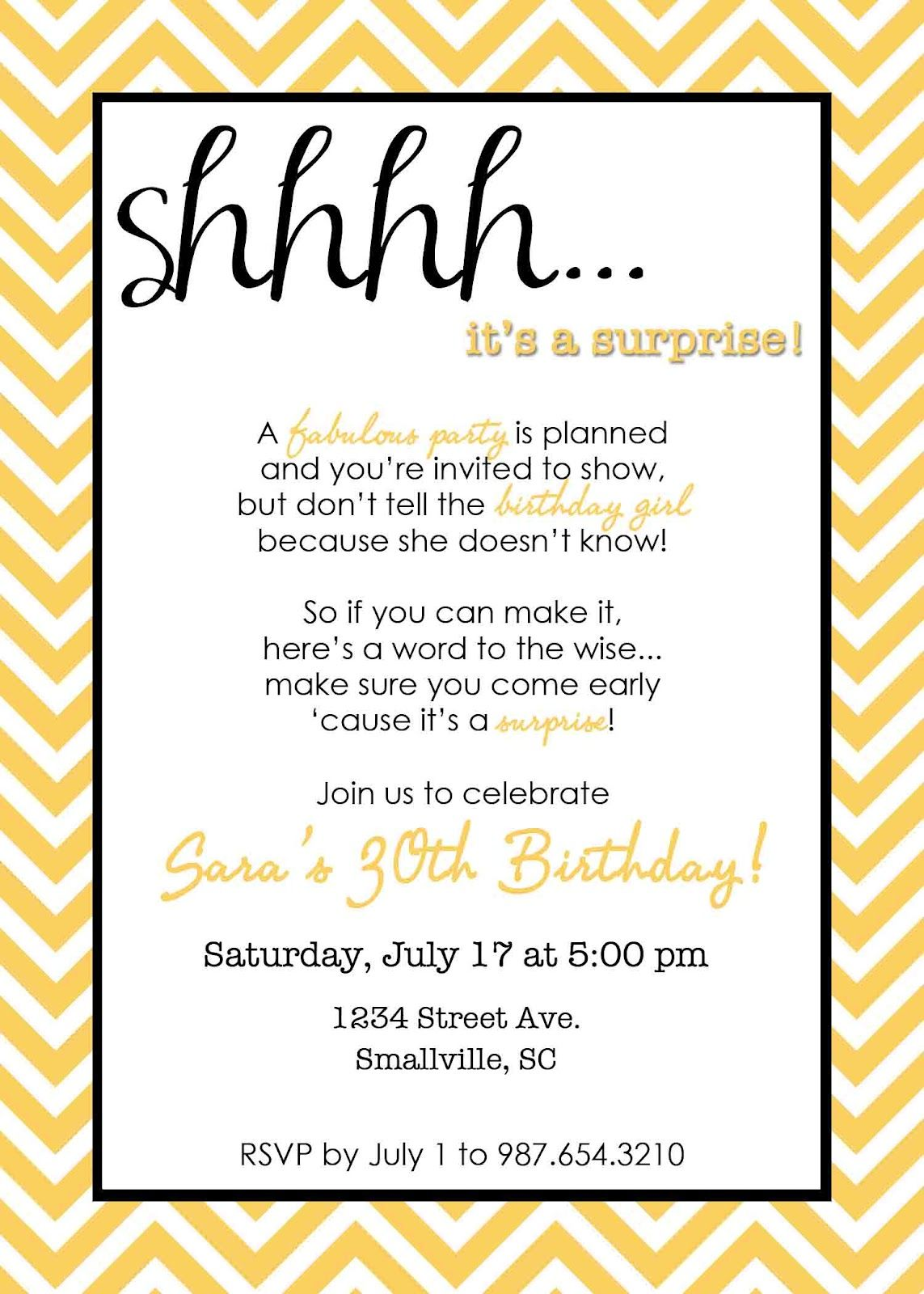 Wording for Surprise Birthday Party Invitations | Free Printable ...