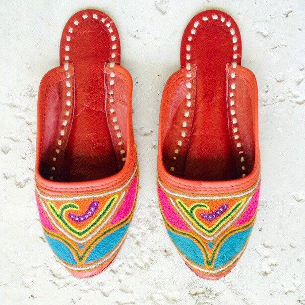 A personal favorite from my Etsy shop https://www.etsy.com/listing/220412449/red-leather-woven-indian-flat-slip-on