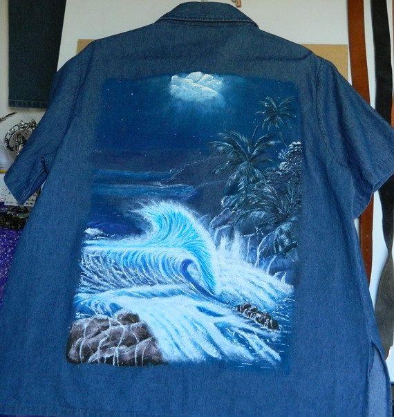 Denim Shirt with Night Beach Scene