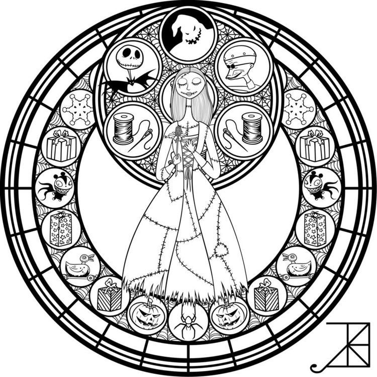 Nightmare Before Christmas Disney Stained Glass Disney Coloring Pages Mandala Coloring Pages