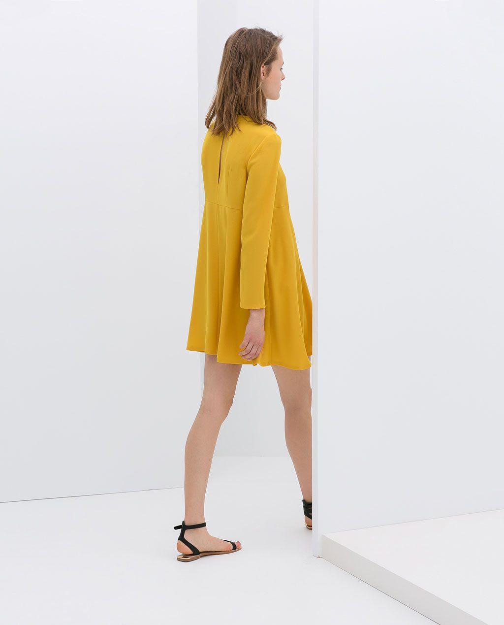 Yellow dress long sleeve  ZARA  WOMAN  LONGSLEEVE DRESS  Dresses  Pinterest  Sleeved