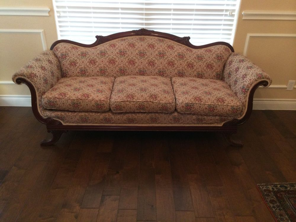 Awesome Antique Duncan Phyfe Sofa Exc Cond. Ornately Carved Curved Back, Legs Claw  Feet #