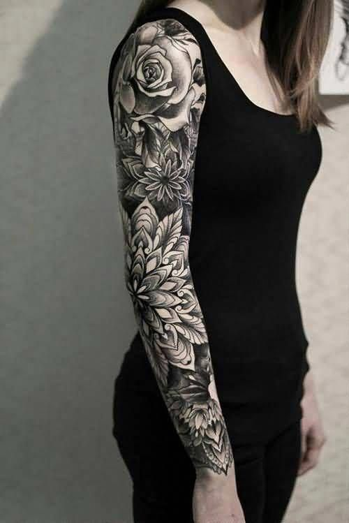 Flower And Leaf Full Sleeve Arm Tattoo For Women Arm Tattoos Small Tattoo Ideas For Women T Girl Arm Tattoos Tattoos For Women Flowers Arm Tattoos For Women
