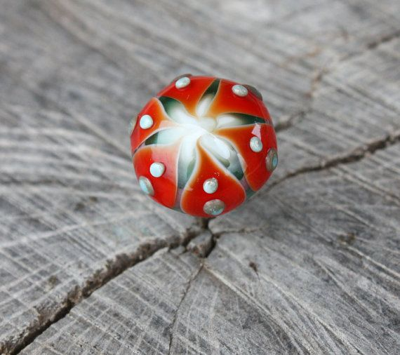 Green Orange Unique Handcrafted Pushpin Thumbtack by Phishstuff, $15.00