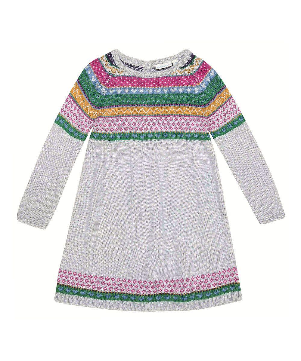 JoJo Maman Bébé Gray Fair Isle Sweater Dress - Infant, Toddler ...