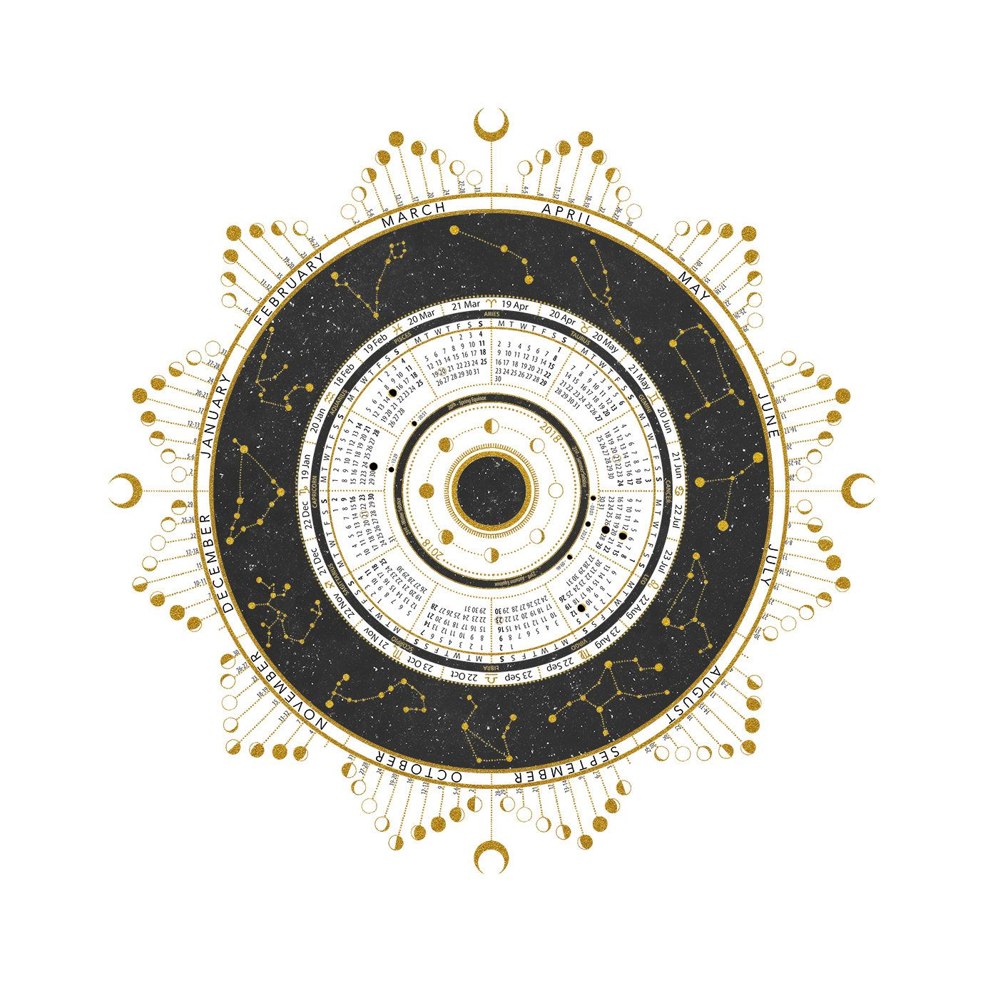 2018 Lunar Calendar Featuring Moon Phases Solstice Equinox Solar Lunar Eclipses With Exact Time And Astrology Calendar Lunar Calendar Moon Phase Calendar