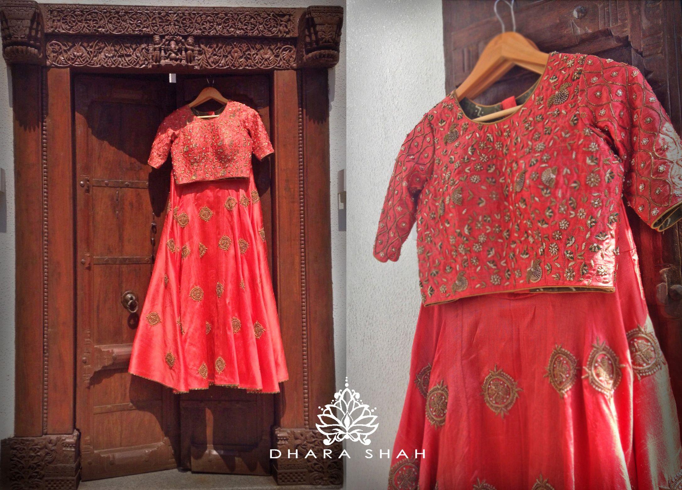 Dharashah Red Zardozi Lehenga Bride Weddingoutfit Croptop Skirt