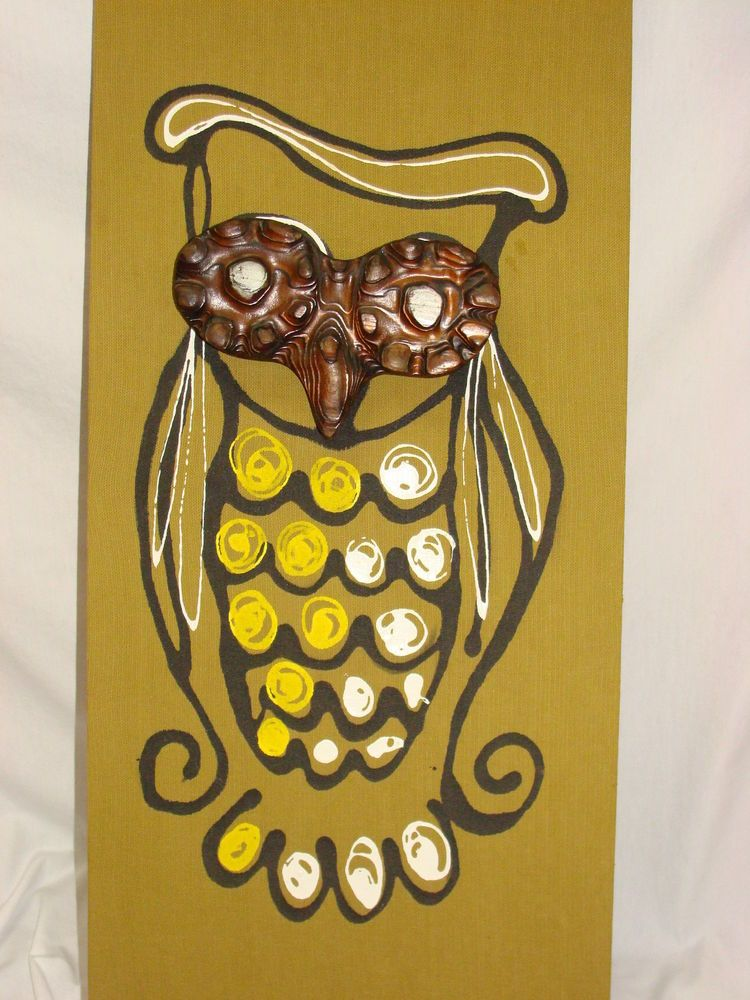 VTG WITCO WILRONGO OWL PLAQUE WALL HANGING ART MID CENTURY MODERN ...