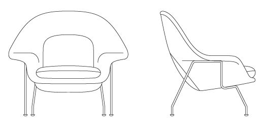 Chair In Plan View Sketch Google Search Womb Chair Chair Knoll Womb Chair
