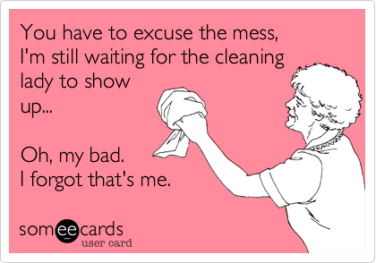 You Have To Excuse The Mess I M Still Waiting For The Cleaning Lady To Show Up Oh My Bad I F Clean Funny Memes House Cleaning Humor Cleaning Quotes Funny