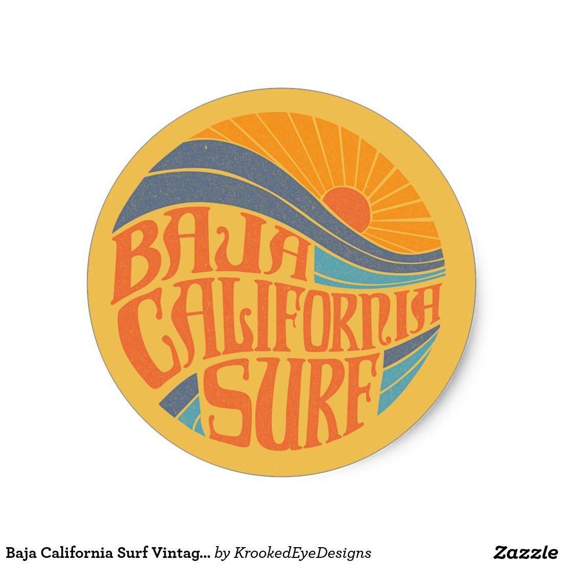 Baja California Surf Vintage Sticker Zazzle Com Surf Stickers Retro Surf Surf Logo [ 1104 x 1104 Pixel ]