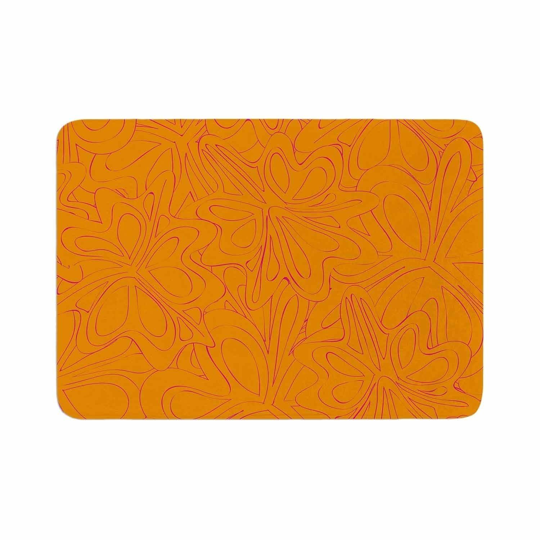 Miranda Mol Retro Tulip Silhouette Orange Memory Foam Bath Mat