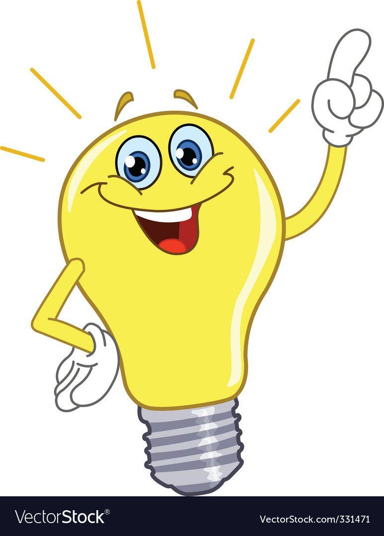 Cartoon Light Bulb Vector Image On Vectorstock Cartoon Light Bulb Light Bulb Drawing Light Bulb Vector