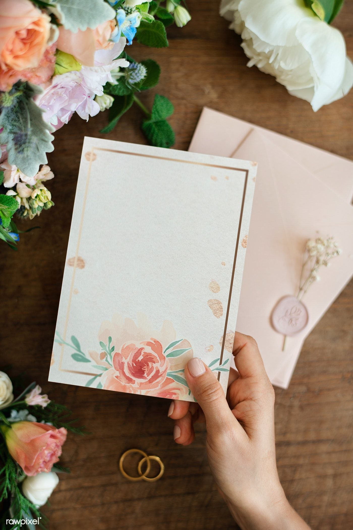Download Premium Psd Of Woman Holding A Floral Card Mockup 1209941 Floral Cards Floral Poster Floral Border Design
