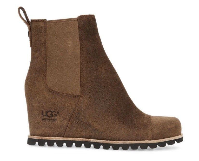 342f9e1c2c1 NIB UGG Women's Pax Waterproof Wedge Booties in Chipmunk Leather ...