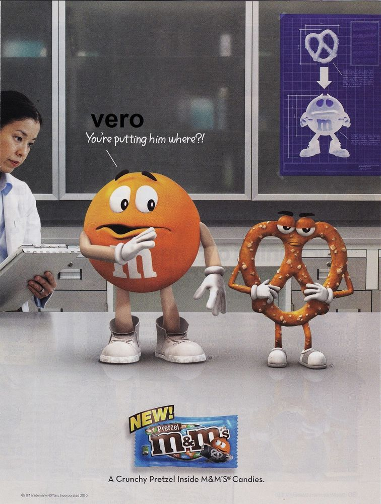 2010 magazine ad M&M's PRETZEL INSIDE mms M&M candy advertisement print