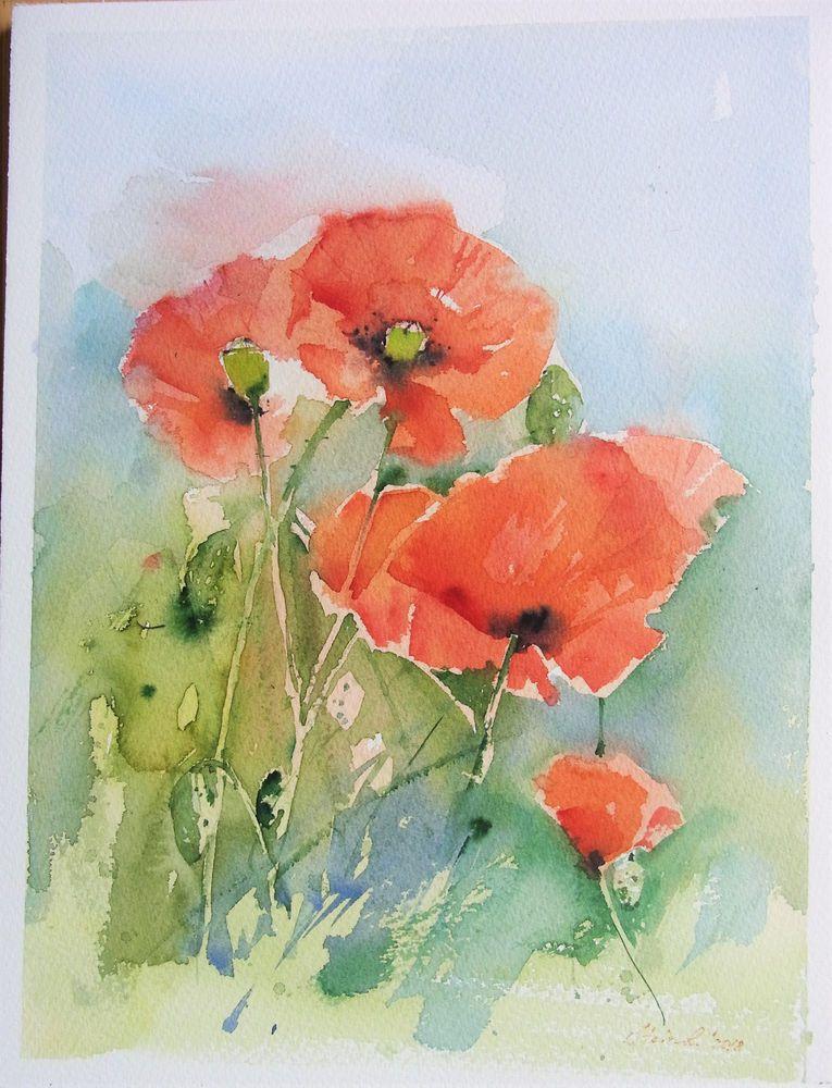 Original Aquarell Mohn Grosse 23x30 5 Cm Ebay Mohnblumen Kunst Wie Man Blumen Malt Und Wasserfarben Kunst