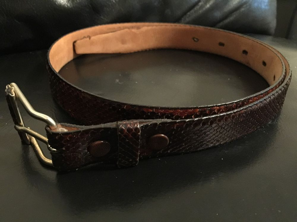 Men's SNAKE Genuine PYTHON Leather Belt, SIZE 3285 cm