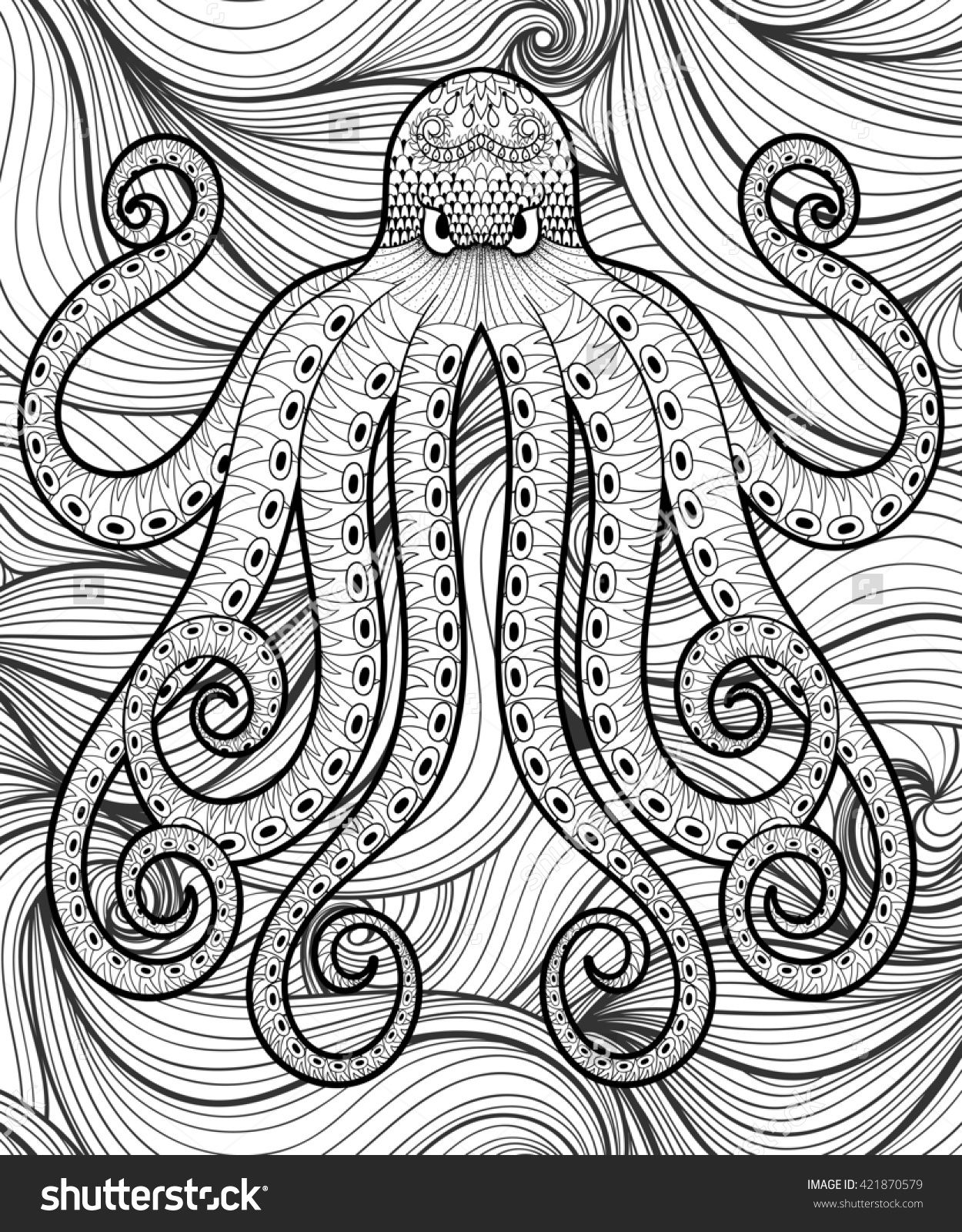 Zentangle octopus in sea for adult coloring page Sea