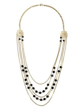 Polish off your outfit with this layered necklace. Multi, chain-link strands are scattered with cluster beads and floral rhinestone charms. Features a lobster claw closure. Customized in size and scale for the plus size woman. For your comfort, all Catherines jewelry is free of lead and nickel. catherines.com