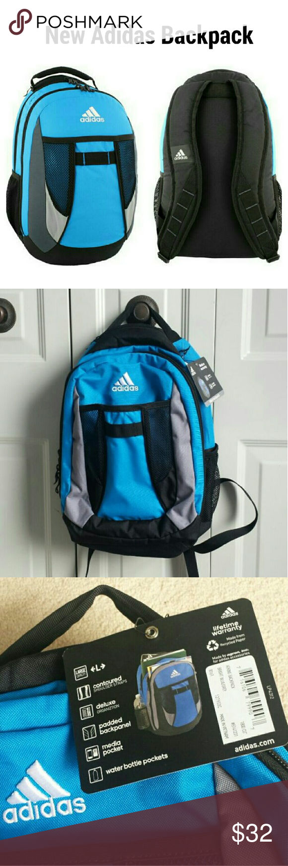 2388821949 New!Adidas Atkins Large Backpack School Book bag Adidas Atkins Large  Backpack School Book Bag