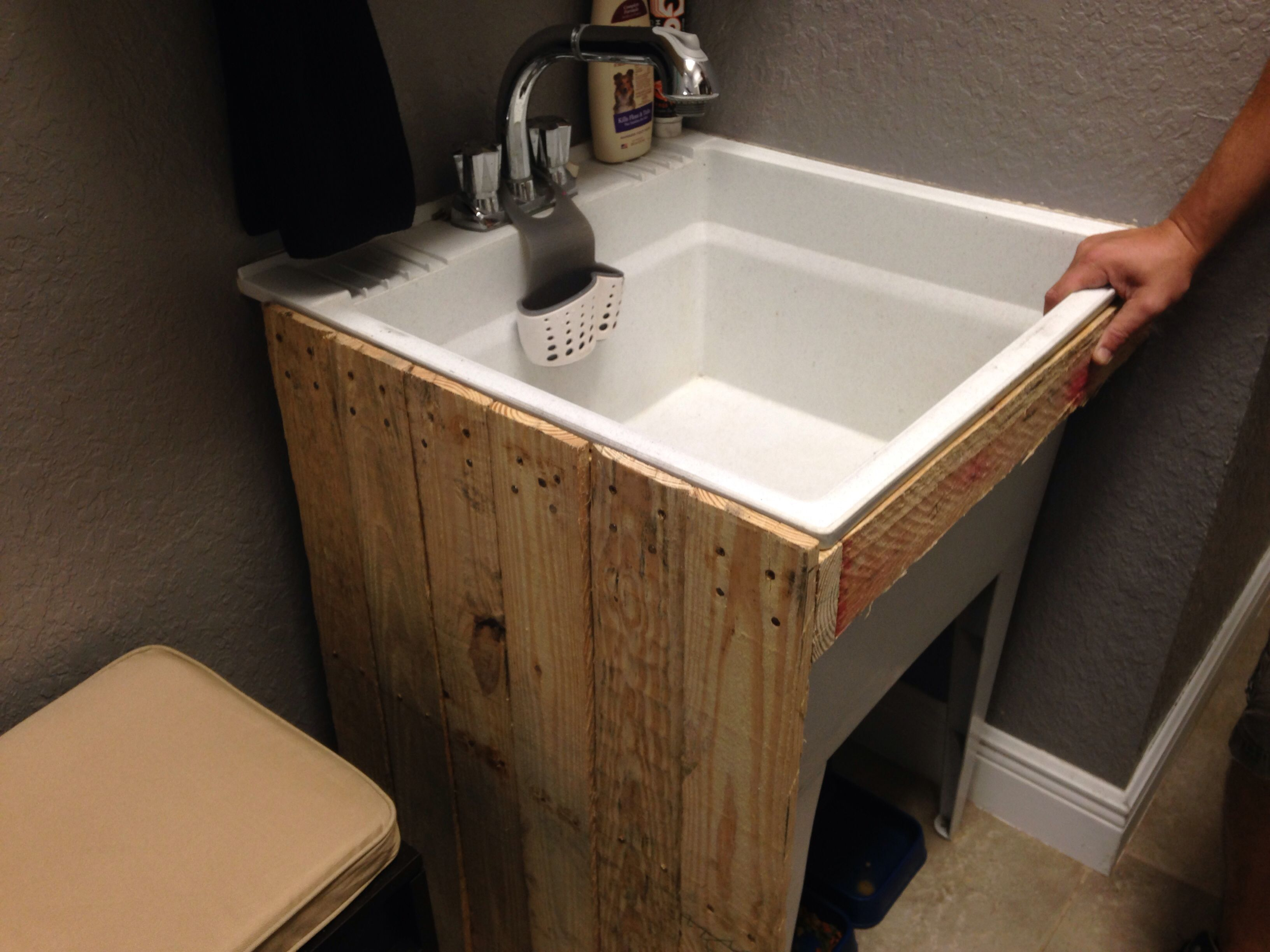 Diy Base Around The Plastic Utility Sink Until I Can Find An Old Porcelain One Laundry Room Makeover Laundry Room Utility Sink Laundry Room Design
