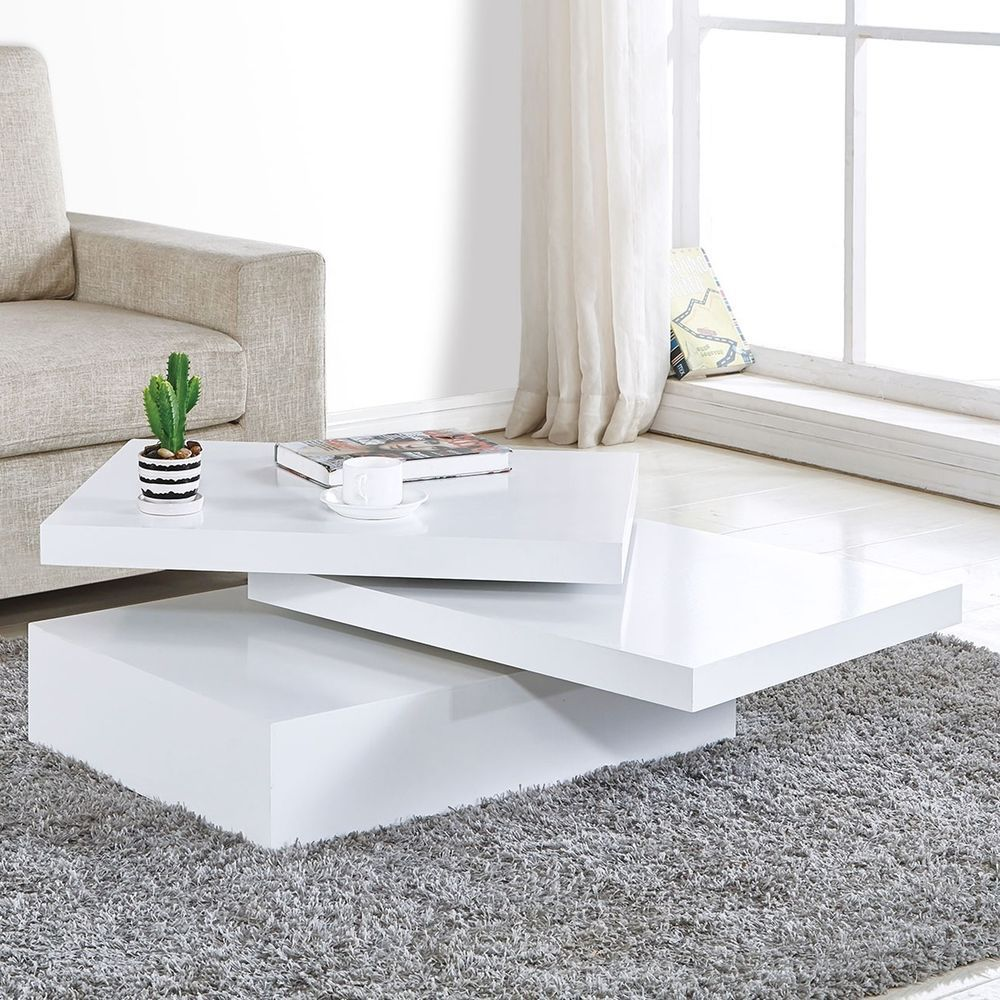 White Square Coffee Table Rotating Contemporary Modern Living Room Furni Coffee Table Living Room Modern Contemporary Modern Living Room Furniture Coffee Table [ 1000 x 1000 Pixel ]