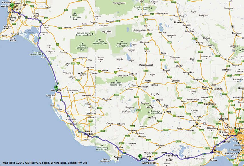 Melbourne to Adelaide Road Map Route 2 Australia Pinterest