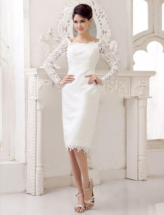 Lace long sleeve short beach wedding dresses white cap for Short white lace long sleeve wedding dress