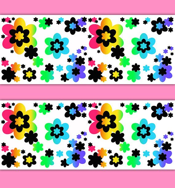 RAINBOW FLOWER BORDER Decal Wallpaper Teen Girl Wall Art Stickers Baby  Nursery Room Floral Abstract Kids