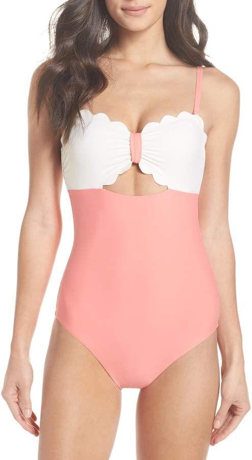 d6d489e029249 Chelsea28 Scallop Bandeau One-Piece Swimsuit #Scallop#Bandeau#Swimsuit