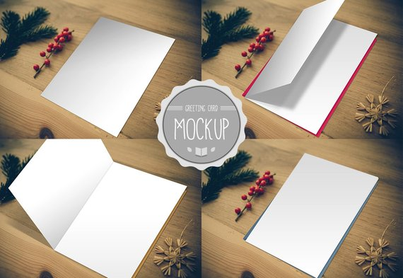 Greeting Card Mockup Instant Download Photoshop Psd Template